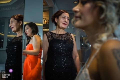 Hochzeitsfotoaufnahme in Istanbul die Türkei mit der Braut und anderen Frauen und fertig werden