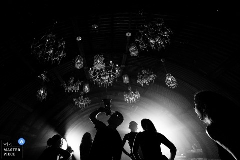 Wedding pictures by England photographer - guests silhouetted and singing into a megaphone