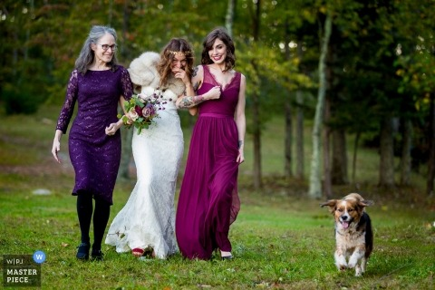 Lydia Mountain Pavillion Outdoor Wedding Ceremony - Virginia Wedding Photograph of Bride walking in with a dog