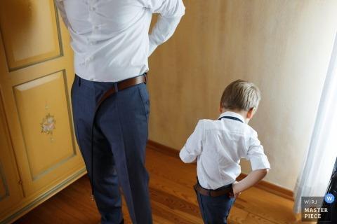 Ślubne przygotowanie pana młodego i jego syna w Chorwacji.