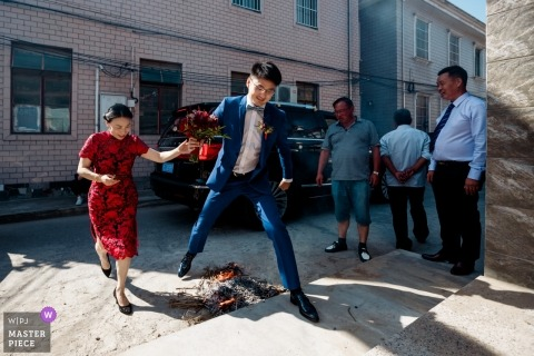 Wedding shoot with Shanghai groom leaping over Flames