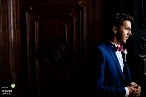 Documentary wedding photography at Braga Portugal of a groom waiting for his bride and the ceremony