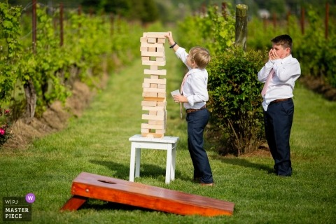 Opatrznościowa dokumentalna ślubna fotografia młode chłopiec bawić się brogującą drewnianą blok Jenga grę przy winnicą