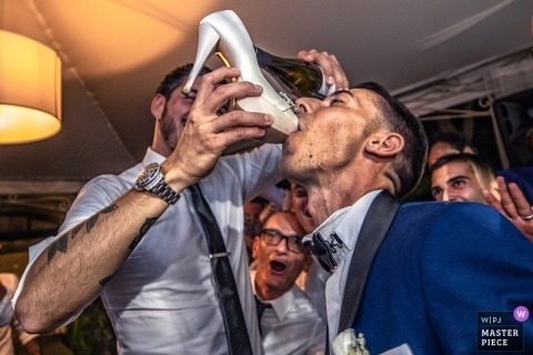 drinking from bridal shoes, champagne - ca borghese - ameglia