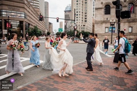 Greeting another wedding party on the busiest wedding date of the year | Boston wedding photos