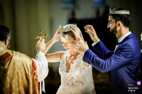 Coronation Ceremony for Bride and Groom - France Wedding Photography