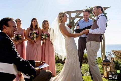 Encinitas, Californie Photo de mariage de la cérémonie en plein air sous un ciel parfait