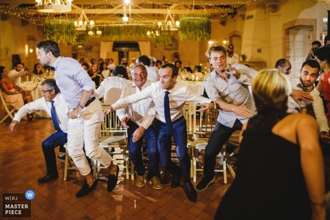 Porto wedding photograph of reception games for the guests - musical chairs?