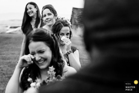 Bozeman, Montana Wedding Photograph of Bridesmaids lined up with tears