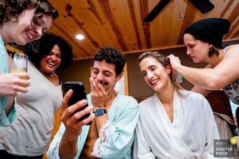 Shenandoah Woods, Stanley VA - laughing during wedding preparations