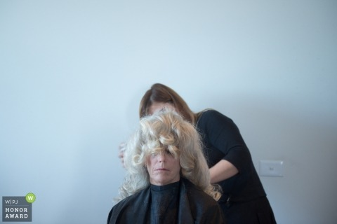 Wedding pictures of blonde hair getting workover by Melbourne photographer
