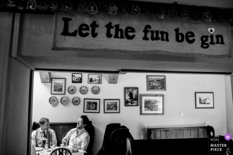 Wedding pictures by England photographer - Let the fun be gin, sign