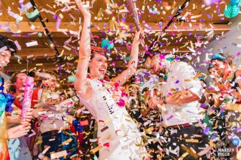 Zuid Holland couple during their wedding confetti shower madness