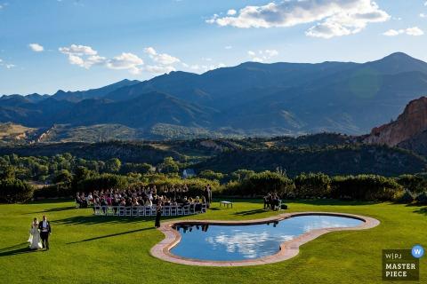 Justin Edmonds, of Colorado, is a wedding photographer for Garden of the Gods Club, Colorado Springs, Colorado