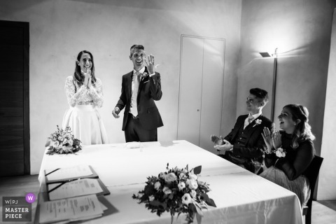 Indoor wedding ceremony image from the Castello Sasso Corbaro Bellinzona