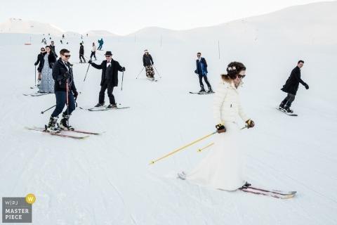 Ceremonia de montaña nevada fotografía de boda | Les Arcs, Francia