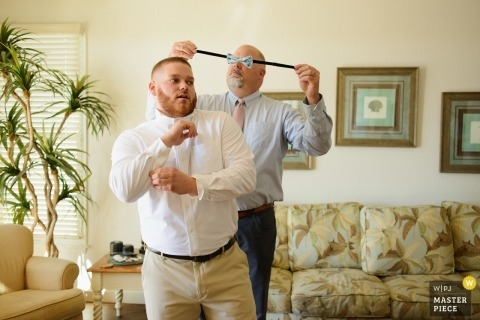 Manteo, NC wedding photography - Groom Getting Ready with bowtie