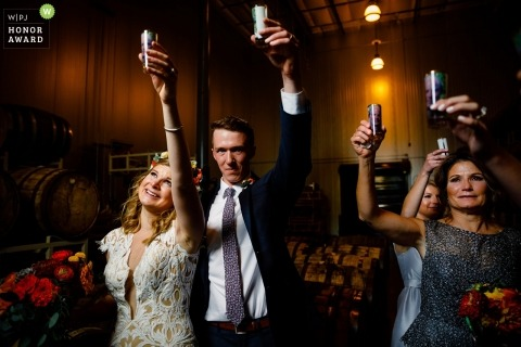 Wedding shoot with Denver, CO couple Toasting to her late father.