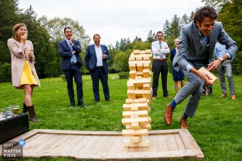 Denekamp wedding photo | wedding photography of wood block game, Jenga