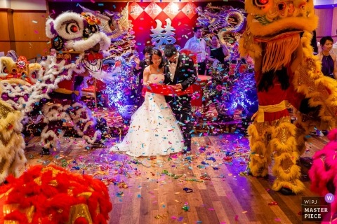 Chinatown Wedding shoot with Boston couple covered in confetti