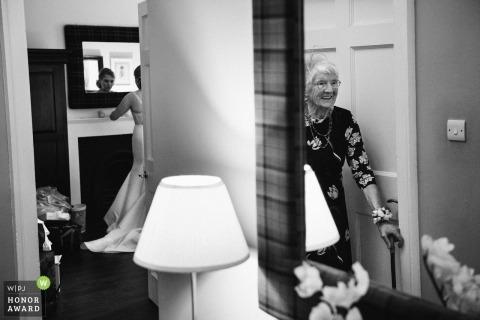 Signet Library, Edinburgh, Scotland wedding photography of bride preparing in mirror
