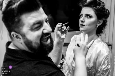Hotel Rita Hoppner - Gramado - Rio Grande do Sul wedding photography of bride getting makeup job.