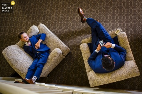 Wedding photo shoot at the Redondo Beach Historical Museum - Groomsmen hanging out in chairs from above