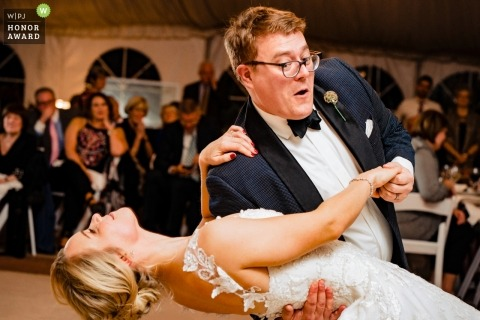 The Oatlands, Virginia couple dipping during their wedding dance