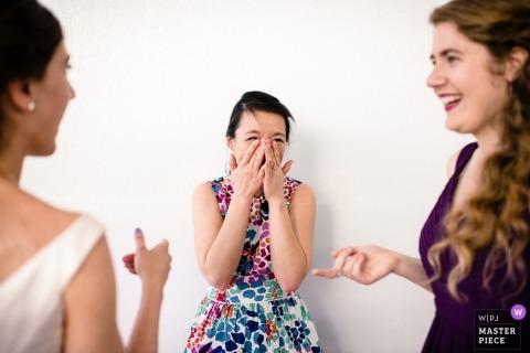 Madison wedding photography - WI bridesmaids laughing
