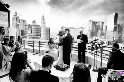 Las Vegas couple during their rooftop wedding ceremony