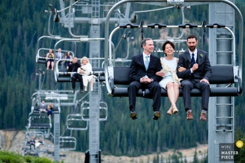 Arapahoe Basin, Colorado elopement wedding| family and guests take a chairlifts to the ceremony