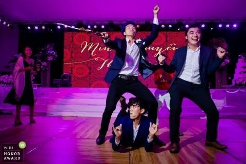 Ho Chi Minh documentary wedding photo - Vietnam reception dance party with the groomsmen