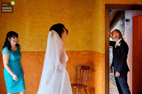 Genoa, Italy wedding photography - father of bride getting emotional on first look