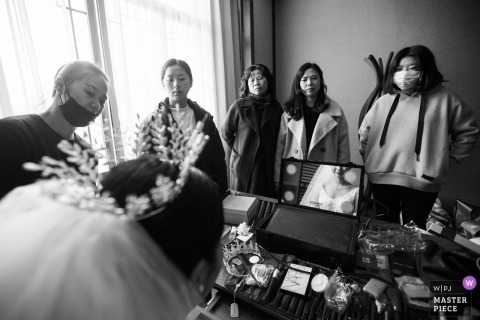 China Wedding photojournalism at Fujian pre-wedding getting ready session with bride
