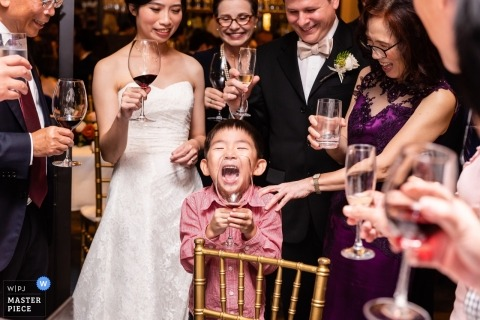 Empress, ACM, Singapore wedding reception with bride and kids