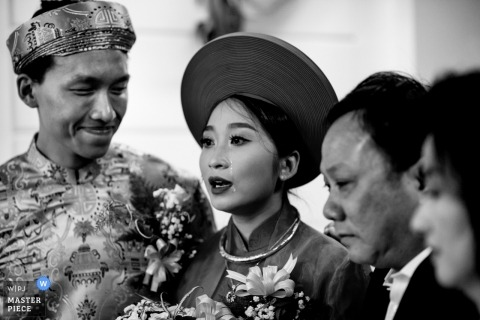 Ho Chi Minh wedding photo of a couple in black and white | Huy Nguyen wedding photographer