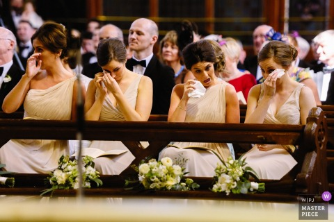 Thomastown Wedding | Rows of Tears from the Bridesmaids inside the Church