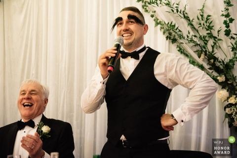 Le photojournalisme de mariage au Destiny Hall, Glasgow | Humour discours de réception