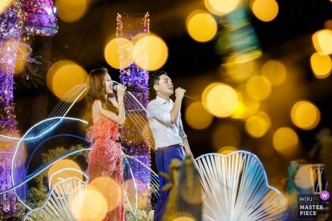 Ślubna fotografia piosenkarzy recepcji w Hangzhou City