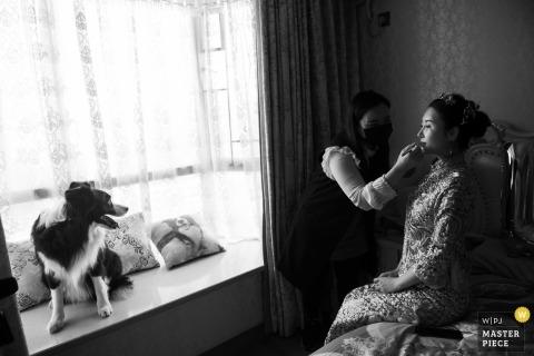 Zdjęcie ślubne Guangdong panny młodej robi się uzupełnić fotografia ślubna w Chinach
