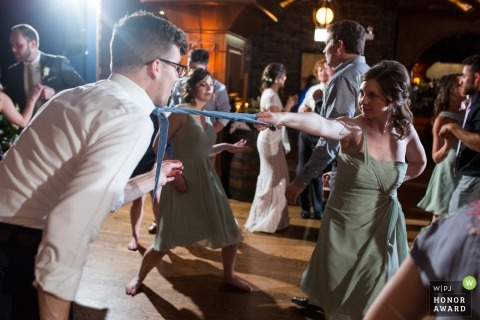 Chicago wedding reception photography with lights on the dance floor