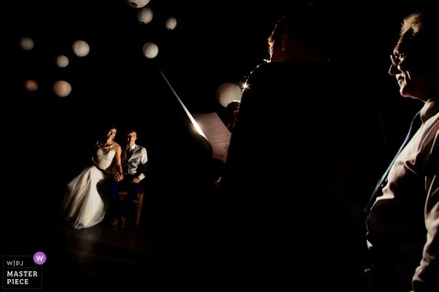 Hesse wedding reception photography of speeches in low light | Germany bride and groom at their wedding