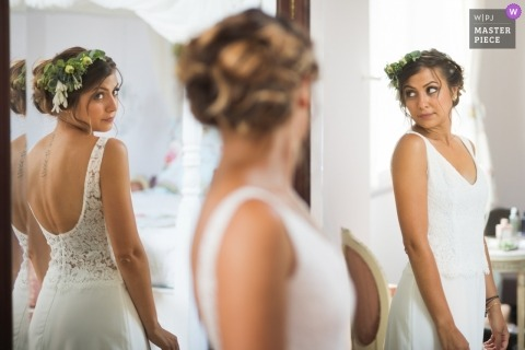 Lavardac, France wedding photography of bride getting ready in multiple mirrors