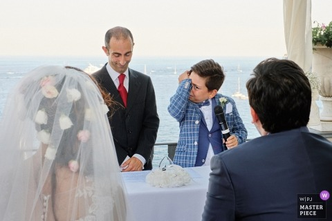 emotional wedding speech from a young man in Portofino, Italy