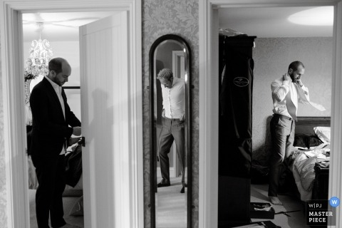 Getting ready at the Groom's parents home in Somerset | Wedding Photography of the guys