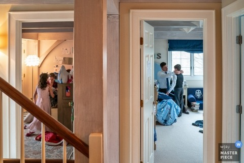 New York wedding photography of family getting ready at home