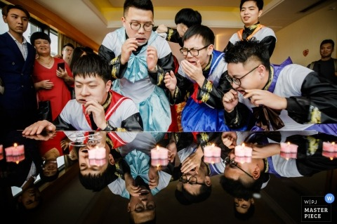 WENZHOU, CHINA | groomsmen before the ceremony