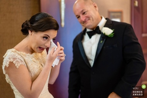 Lenox Hotel wedding shoot with bride crying and dad