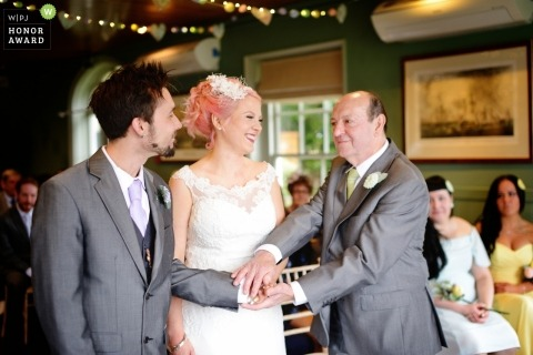 Hampshire, UK wedding shoot with a dad giving bride away - The Master Builder's Hotel, Beaulieu