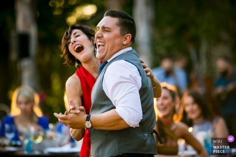 Courtland, Ca wedding reception photography of outdoor dancing with good light